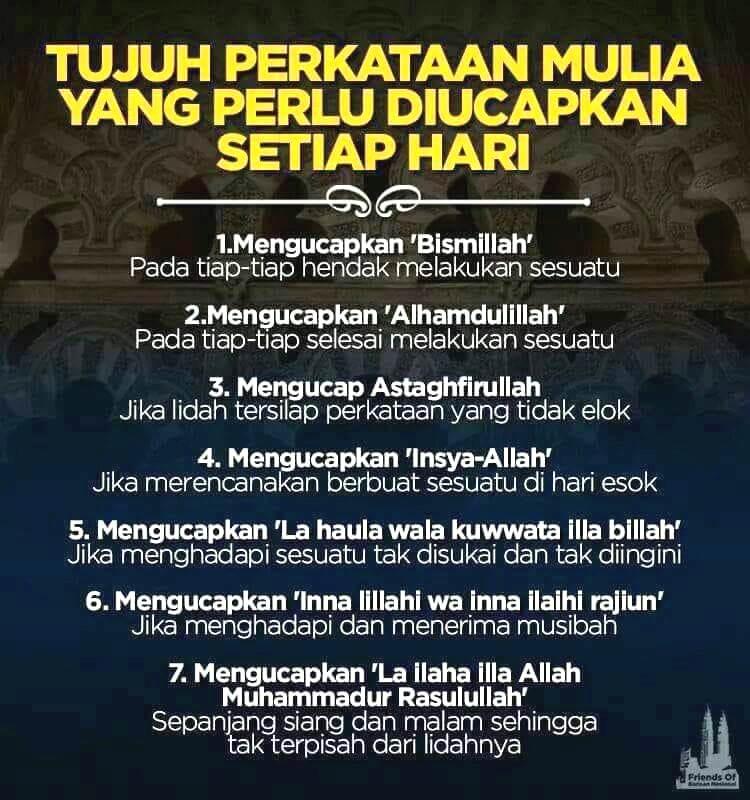 Amalkan Tujuh Kalimat Yang Mulia di SisiAllah